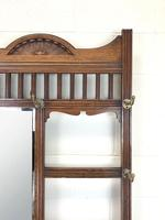 Antique Oak Arts & Crafts Mirrored Hall Stand (9 of 11)