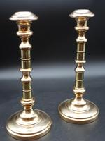 An Attractive Pair of Late 19th Century Ring Turned Brass Candlesticks