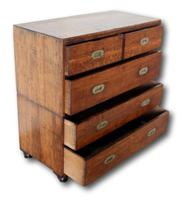 19th Century Oak Campaign Chest of Drawers (5 of 7)