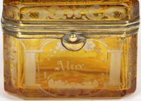 Bohemian Antique Engraved Metal Mounted Overlay Yellow Glass Sugar Casket 19th Century (12 of 19)