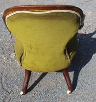 1900's Mahogany Open Arm Nursing Chair in Green (3 of 3)