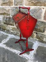 Antique Red Lacquered Chinoiserie Sewing Basket (5 of 10)