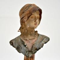 Antique Art Nouveau Plaster Bust by Hochock (4 of 10)