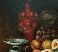 Fine Early 20thc Antique Still Life Oil Painting - Fruit & Shellfish - Minor TLC (6 of 14)