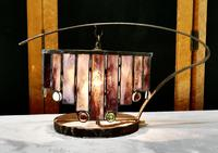 French Arts and Crafts Amethyst Leaded Glass Table Lamp (2 of 8)