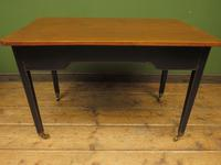 Antique Black Painted Writing Table with Wooden Top, Gothic Shabby Chic (15 of 19)