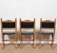 6 Oak Gothic Dining Chairs Carved (2 of 14)