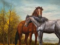 Original Signed 20th Century Vintage Horse & Foal Equestrian Oil on Canvas Painting (4 of 10)