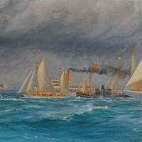 A rare painting of 1930 America's Cup racing off Newport, signed 'Harold Wyllie' (11 of 12)