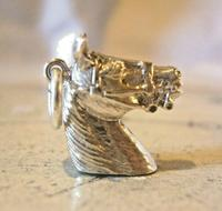 Vintage Pocket Watch Chain Silver Horse Fob 1970 Solid Silver Equestrian Fob (2 of 8)