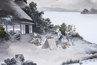 Pair of Antique Japanese Ink & Watercolour Paintings c.1910 (4 of 6)