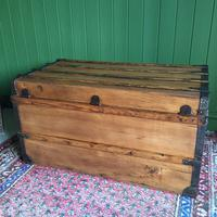 Antique French Steamer Trunk Coffee Table Old Rustic Chest and Key + Original Interior (10 of 12)