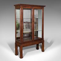 Quality Antique Display Cabinet, English, Oak, Retail, Showcase, Edwardian c.1910