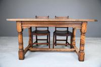 Country Antique Style Oak Refectory Kitchen  Dining Table (10 of 12)