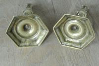 Pair of 18th Century English Gregorian Brass Candlesticks 1710-30 Seamed Stems (3 of 10)