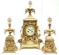 Impressive Antique Candelabra 8-day Clock Set French Striking Rococo Ormolu Bronze Mantel Clock (2 of 15)