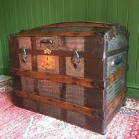 Antique Victorian Dome Top Steamer Trunk Old Gothic Travel Chest Metal Storage Box Steampunk Style (3 of 10)