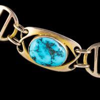 Antique Victorian Art Nouveau Turquoise Matrix Bracelet 9ct Gold Murrle Bennett Circa 1900 (4 of 7)