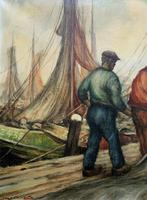 Cornish School - Large early 1900s Oil Painting of Fishermen Pulling in the Nets (6 of 14)
