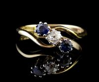 Vintage Art Deco Sapphire & Diamond Trilogy Ring (2 of 10)