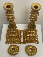 Pair of Decorative French 19th Century Gilded Hallmarked Cartouche Scroll Candlesticks (32 of 40)