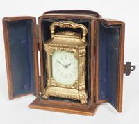 Antique Travelling Miniature Carriage Clock - Original Leather Case Made of Gilt Metal with Enamel Dial Mantel Clock (9 of 12)
