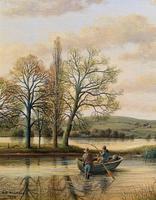 Fishing The River Ouse - Lovely Vintage North Yorkshire Riverscape Oil Painting (5 of 12)