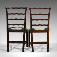 Pair of Antique Ladder Back Chairs, Irish, Mahogany, Side, Georgian c.1780 (5 of 11)