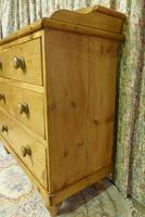 Victorian Stripped Pine Chest of Drawers with Shaped Upstand & Wooden Knobs (6 of 8)