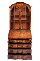 Quality Queen Anne Revival Walnut Bureau Bookcase C.1920 (2 of 6)