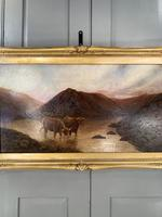 Antique Scottish landscape oil painting with Highland Cattle signed M Allinson 1 of 2 (8 of 10)
