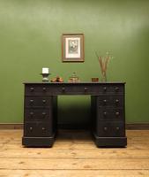 Antique Black Painted Pedestal Desk, 3 Parts, Gothic Shabby Chic (15 of 17)