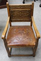 1900's French Oak Refectory Table with Set 6 Oak Chairs +Leather Embossed Seats. (2 of 9)