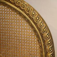 Gilded Louis XVI Matching Pair of Twin Single Caned Rattan Beds (5 of 8)