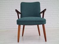 Danish Armchair, completely renovated, wool, teak, 1960s (15 of 16)