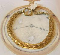 Antique Pocket Watch Chain 1920s Large Brass Fancy Link Albert New Old Stock (2 of 12)