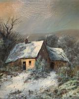 Very Large Outstanding 19th Century British Winter Snow-capped Landscape Oil Painting (6 of 13)