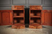 Late Victorian Figured Walnut Bow Front Bedside Cabinets (6 of 17)