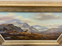 """Oil Painting Scottish Stags """"Denizens of the Highlands"""" Signed Wendy Reeves (28 of 45)"""