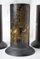 Chinoiserie Black Lacquered Paper Mache Brush Pots (4 of 10)