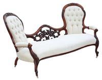 Victorian Walnut Chaise Longue or Conversation Sofa c.1860