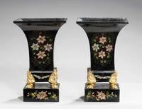 Pair of Mid 19th Century Tole Vases (2 of 6)