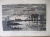 """Robert Farren - Etching """"A Flood in the Fens"""" Featuring Ely Cathedral"""