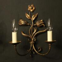 Florentine Pair of Toleware Twin Arm Wall Lights (10 of 10)