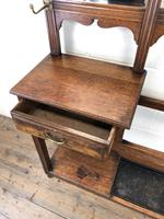 Antique Oak Arts & Crafts Mirrored Hall Stand (7 of 11)