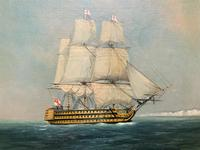 Original Seascape Oil Painting of 18th Century HMS Victory Docked White Cliffs Of Dover (2 of 11)