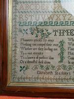"""Large Antique Needlework Sampler 1837 Elizabeth Starkey. in Frame 20"""" x 20"""" (6 of 12)"""
