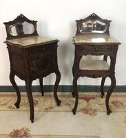 Antique French Walnut Bedside Cabinets Marble Tops & Mirrors Pot Cupboards (2 of 16)