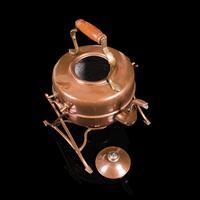 Antique Spirit Kettle, English, Copper, Brass, Teakettle, Stand, Victorian, 1900 (8 of 12)