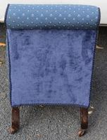 1940's Mahogany Framed Blue Spot Upholstered Nursing Chair (3 of 3)